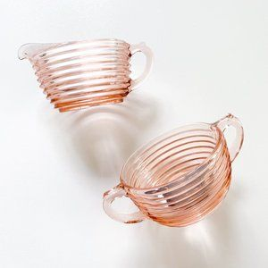 Vintage Clear Pink Glass Cream and Sugar Set